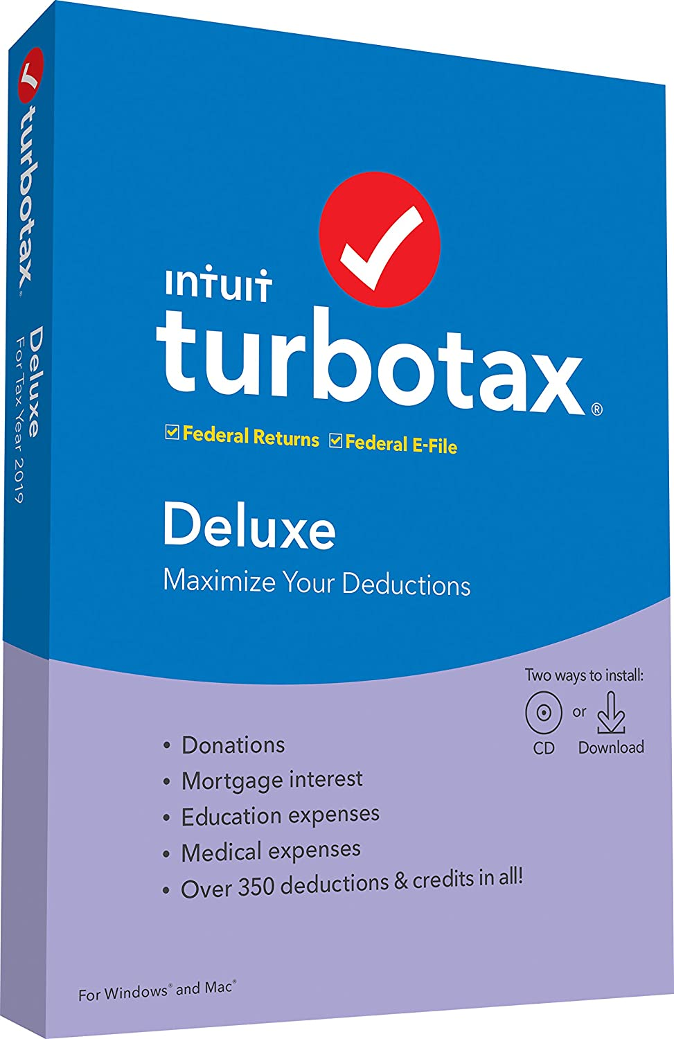 TurboTax Deluxe 2019 Tax Software [Amazon Exclusive] [PC/Mac Disc]