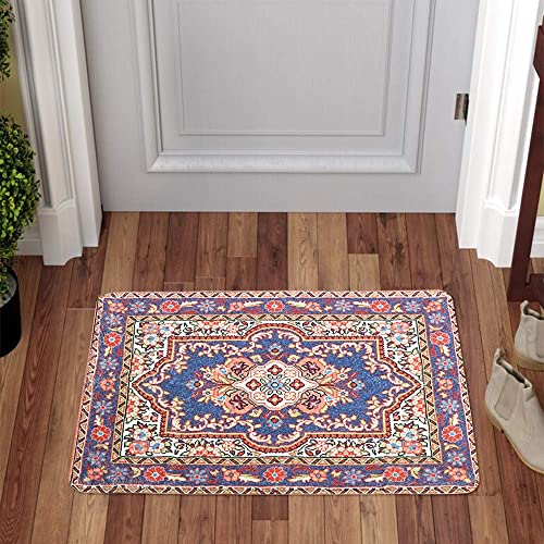 LIVEBOX Area Rug, 2x3ft Faux Wool Vintage Bohemian Fuchsia and Grey Distressed Area Rug Traditional Persian Oriental Design Floor Mat for Entryway Laundry Bedroom Bathroom Carpet