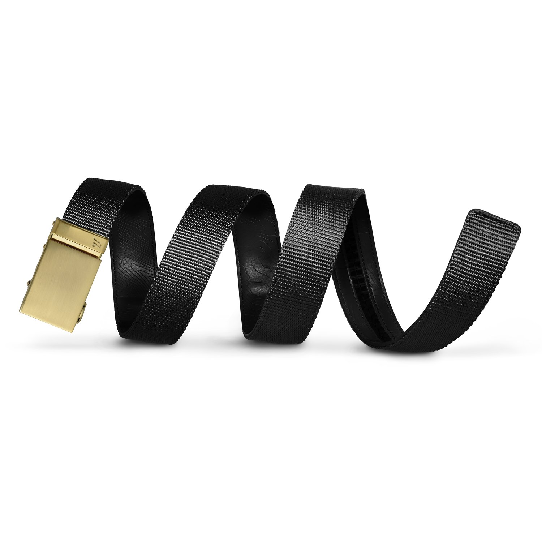 Mission Belt Men's Ratchet Belt - 40mm Gold Buckle/Black Nylon Strap, Extra Large (Up to 42'')