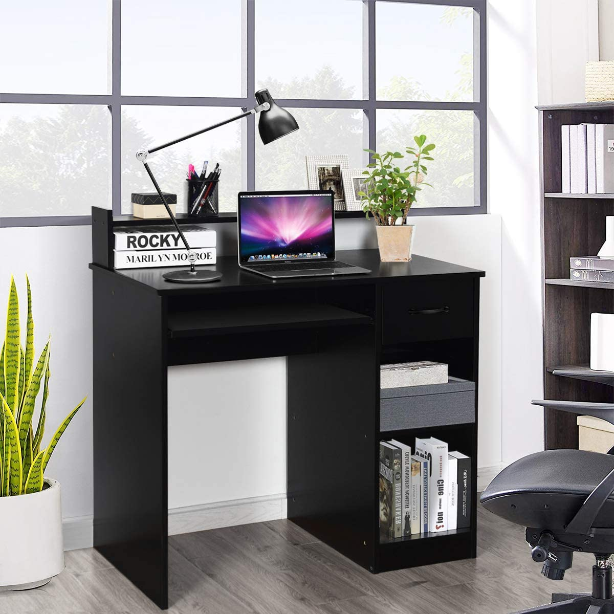 COSTWAY Computertisch mit Ablage Schreibtisch PC-Tisch Computerschreibtisch B/ürotisch Laptoptisch Arbeitstisch 90x48x91,5cm