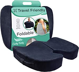 CushyTushy Premium Foldable Coccyx Seat Cushion - Tail Bone Pain Relief Cushion for Home Use, Office Chairs, and Car Seats - Sciatica & Lower Back Pain Relief - Black…