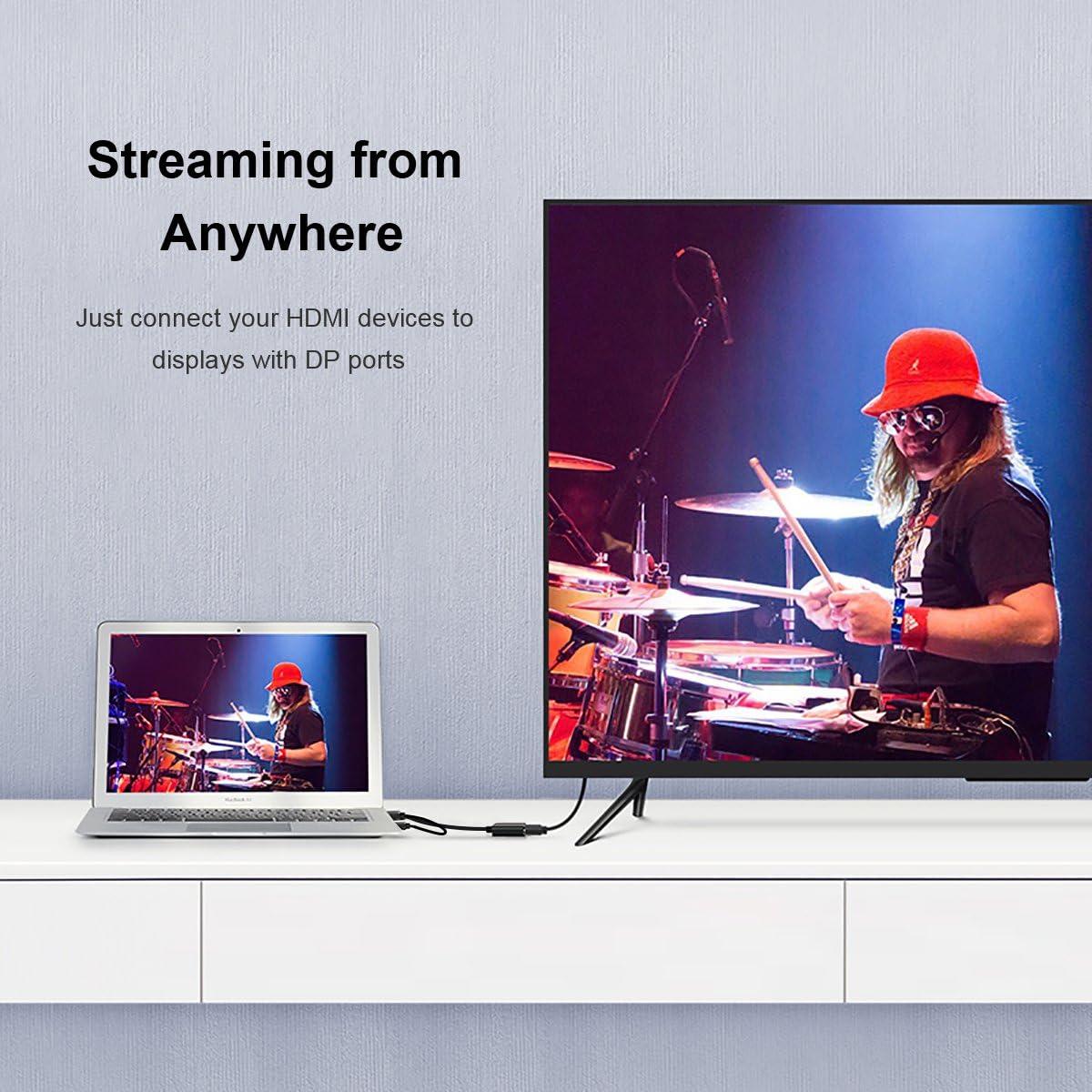 Cable adaptador HDMI a DisplayPort con alimentaci/ón USB compatible con VESA Dual-Mode DisplayPort 1.2 HDMI 1.4 y HDCP QGeeM 4K x 2K HDMI a DP para sistemas equipados con HDMI
