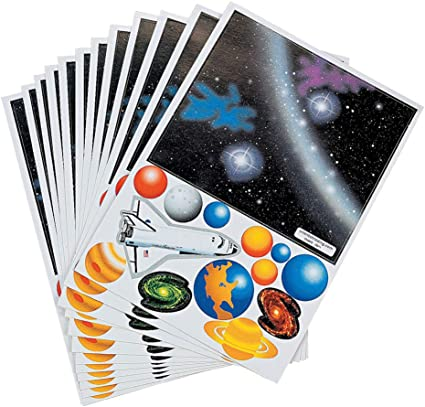 Make a Solar System Sticker Group Projects School Activity Goody Bags Arts and Crafts Room Decor Set of 48 Cute Stickers Scene for Birthday Treat
