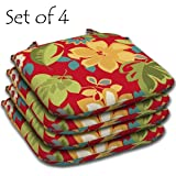 """SET of 4 Outdoor Resin Seat Pads 15.5""""L x 16""""W x 2.25""""H in Polyester fabric Fun Floral"""