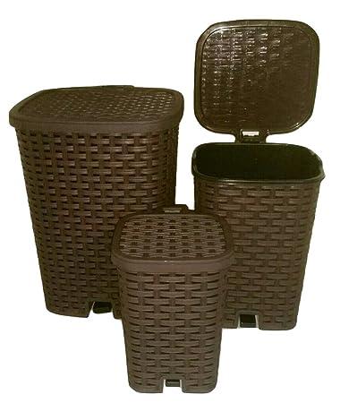 Amazon.com: Ratán (mimbre estilo) 3 cubos de basura Set 6 lt ...