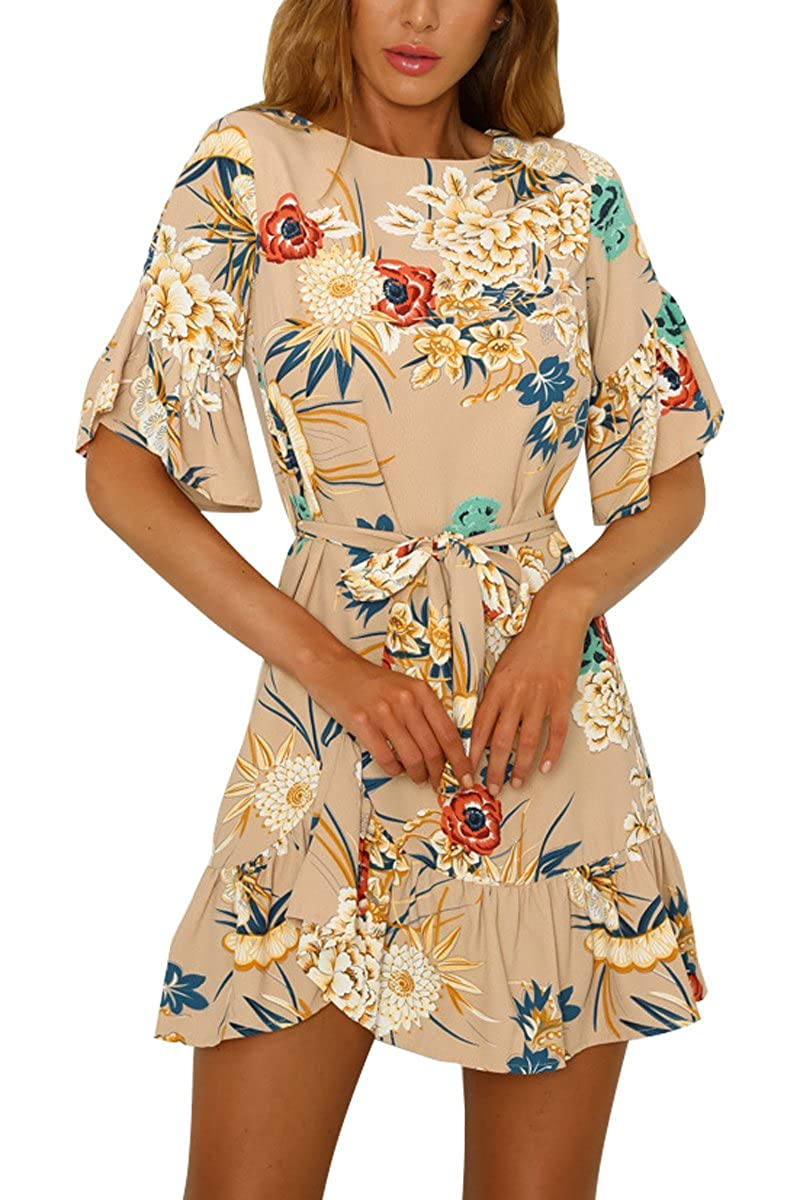 YMING Women's Summer Short Sleeve Floral Printed Casual Boho Dress with Pocket YA-DUANQUNHUAHUAKOUDAICA