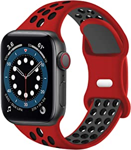 SVISVIPA Sport Bands Compatible for Apple Watch Bands 42mm 44mm,Breathable Soft Silicone Sport Women Men Replacement Strap Compatible with iWatch Series SE/6/5/4/3/2/1,Red Black