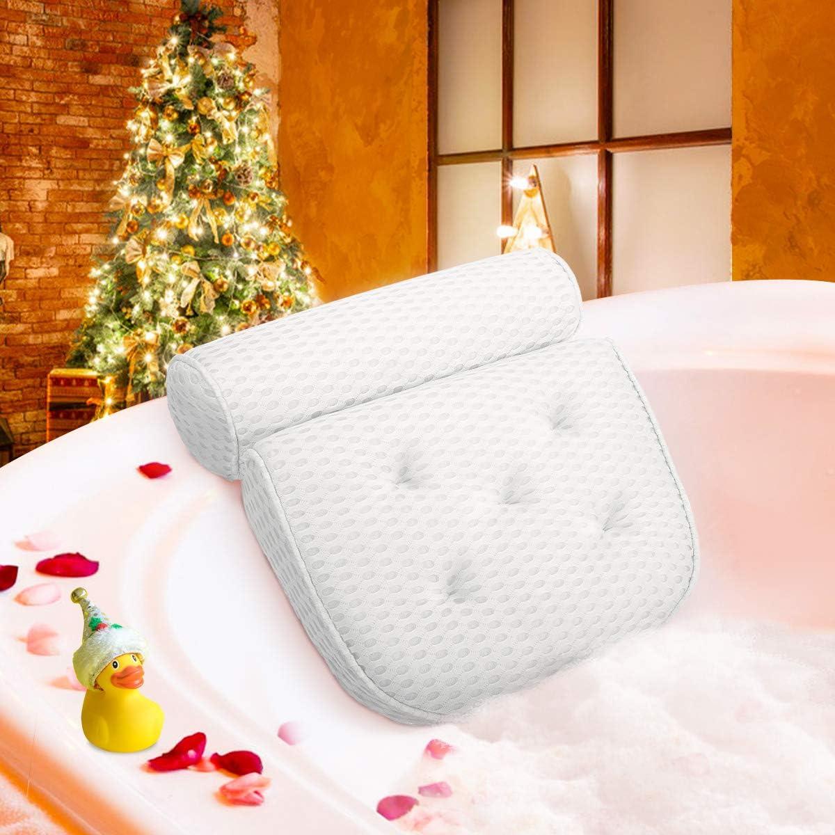 Essort Badewannenkissen, 4D-Air-Mesh-Technologie Komfort badewanne kopfkissen mit 5 Saugnäpfen ist weich und atmungsaktiv badewanne nackenpolste für Home Spa Whirlpools Weiß