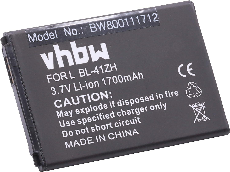 vhbw Li-Ion batería 1700mAh (3.7V) para teléfono móvil Smartphone LG Optimus C40, C40 Power, L50 por BL-41ZH, EAC62378407.: Amazon.es: Electrónica