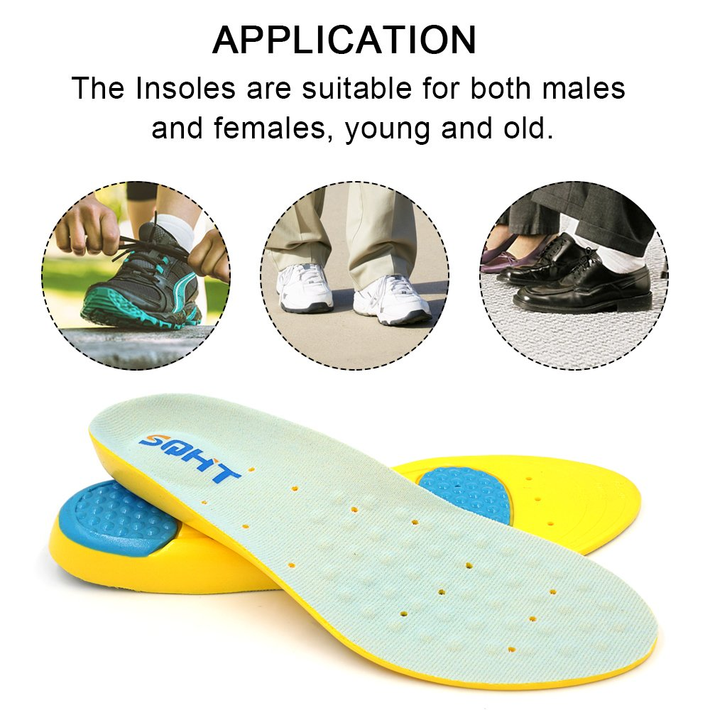 Shoe Insoles, Athletic Series Running Insoles Full Length Comfort Foam Orthotic Replacement Insets with Adaptive Arch and Gel Inserts (L | 7.5~11 Men\'s)