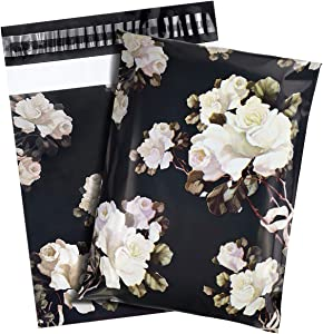"""100 Pack Poly Mailers, 10"""" X 13"""" Envelopes Plastic Custom Mailing Shipping Bags, Poly Mailer Envelope with Self Seal Adhesive Strip Waterproof & -Tearproof (White Rose)"""