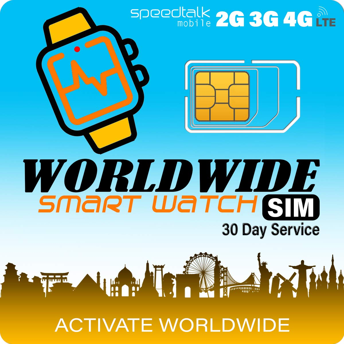 Works in 200 Countries - Smart Watch Worldwide SIM Card - Compatible with 2G 3G 4G Smartwatches and Wearables - Coverage in 200 Countries