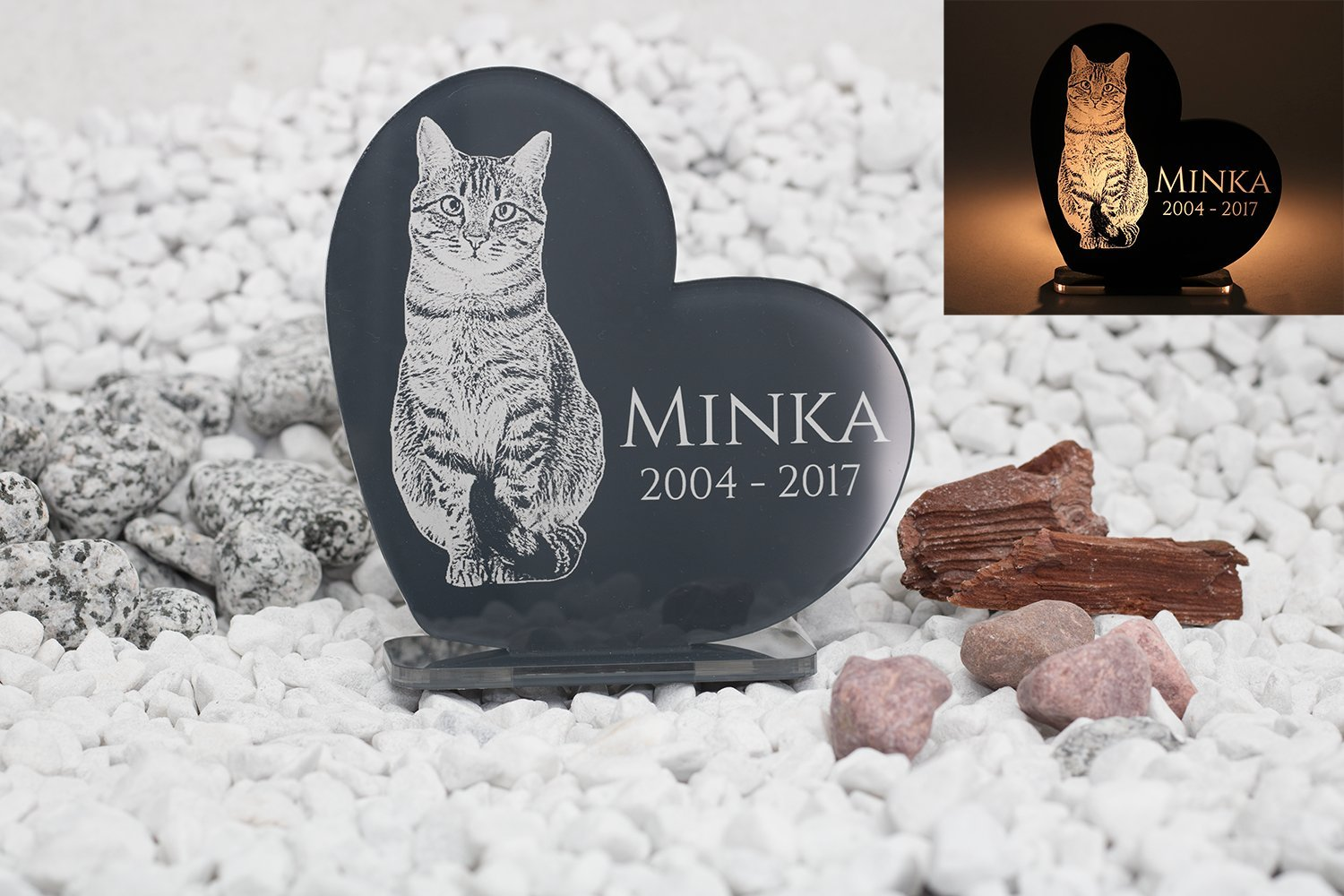 'Memorial Plaque/Graveside Memorial Personalised Engraved Freeze Frame/Photo Engraving High Shine Acrylic Assorted Colours Tombstone Plate DIY Ornament for Dogs, Cats and Horses CHRISCK design
