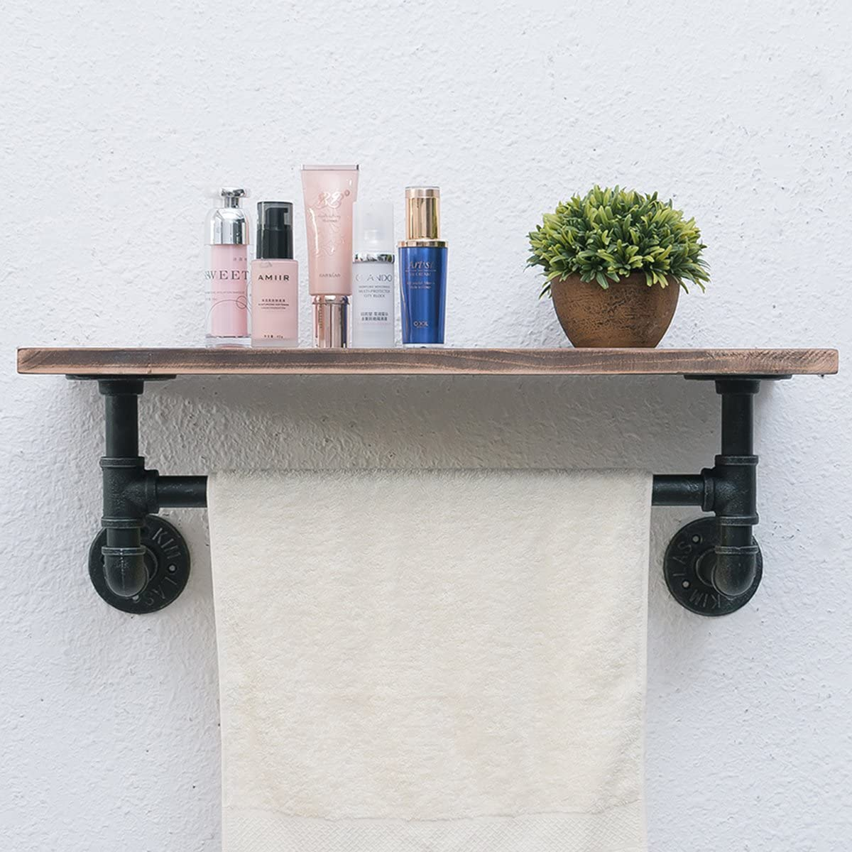 Industrial Pipe Shelf,Rustic Wall Shelf with Towel Bar,24 Towel Racks for Bathroom,1 Tiered Pipe Shelves Wood Shelf Shelving