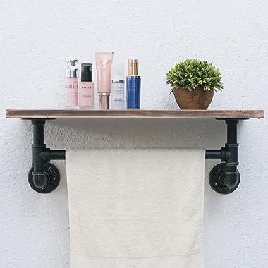 Industrial Pipe Shelf,Rustic Wall Shelf with Towel Bar,24  Towel Racks for Bathroom,1 Tiered Pipe Shelves Wood Shelf Shelving