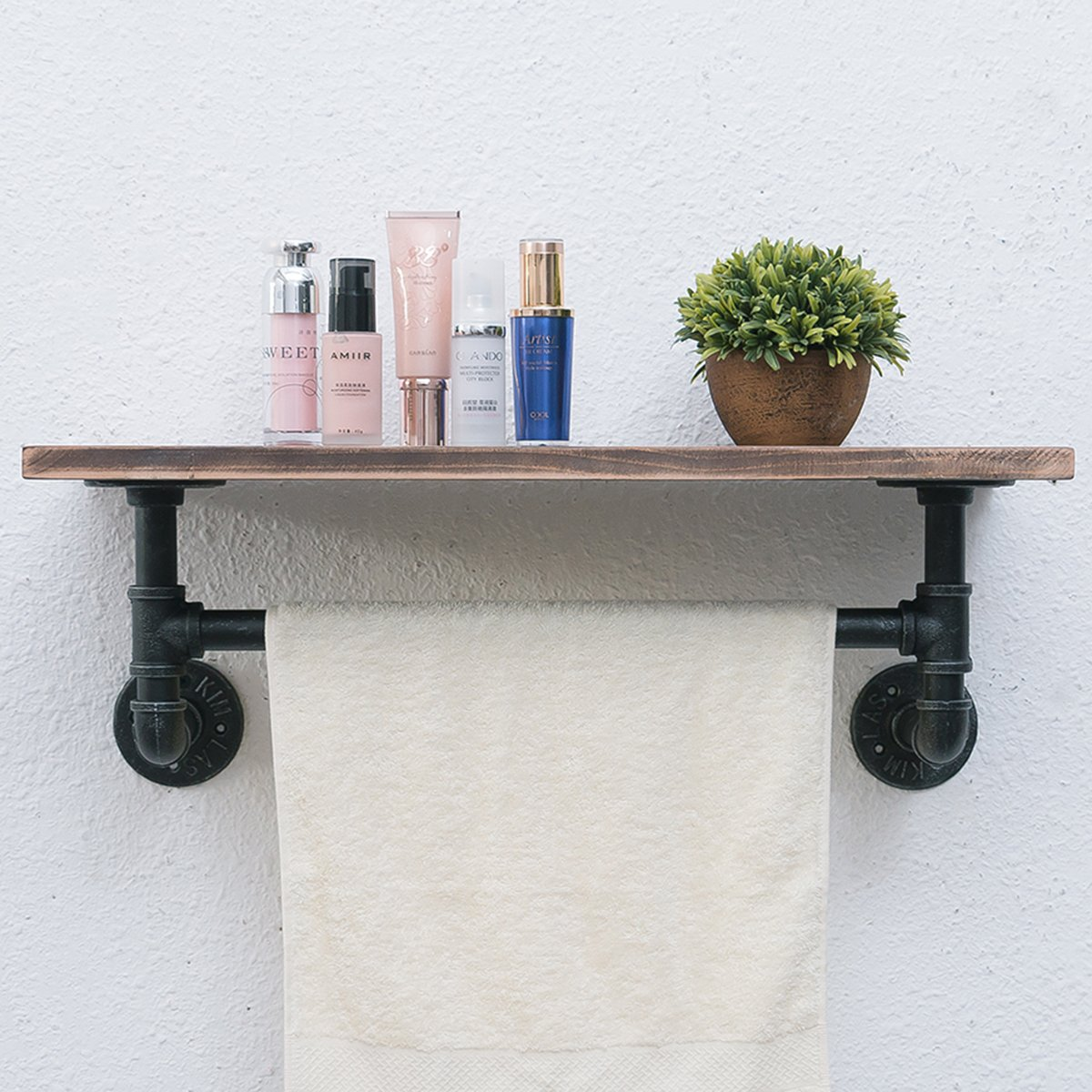 Industrial Pipe Bathroom Shelf,24'' Rustic Wall Shelf with Towel Bar,Industrial Shelving Pipe Shelves Wood Shelf,Towel Racks for Bathroom