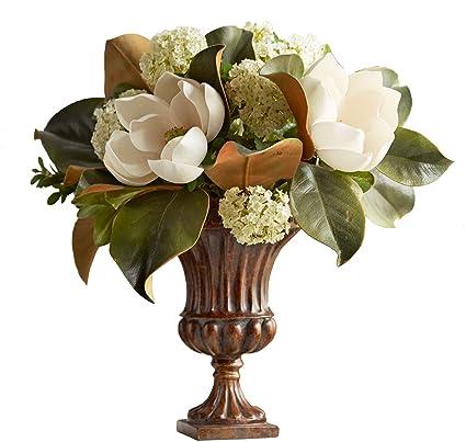 Amazon faux magnolia flower arrangement in fluted urn 16h faux magnolia flower arrangement in fluted urn 16h mightylinksfo