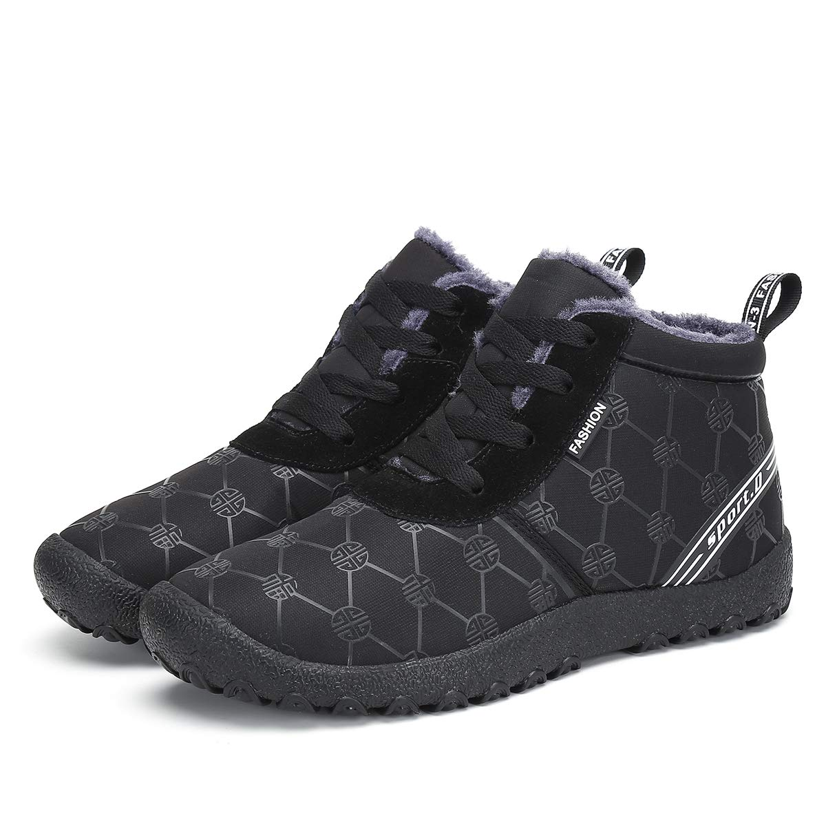 Black1 Leaproo Mens Winter shoes Women Snow Boots Warm Fur Lined Sneakers Anti-Slip Ankle Booties Outdoor shoes