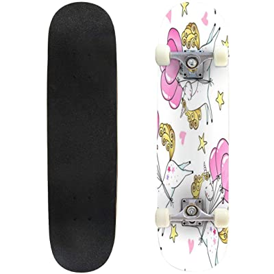 31 inch Skateboard set of hand drawn seamless pattern with cute unicorns fly seamless Complete Longboard Standard Skate board Double Kick Tricks Skateboards for Kids Boys Girls Youths Beginners : Sports & Outdoors