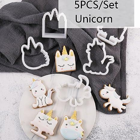 5 moldes de unicornio para galletas, azúcar, repujado, molde para tartas, cortador