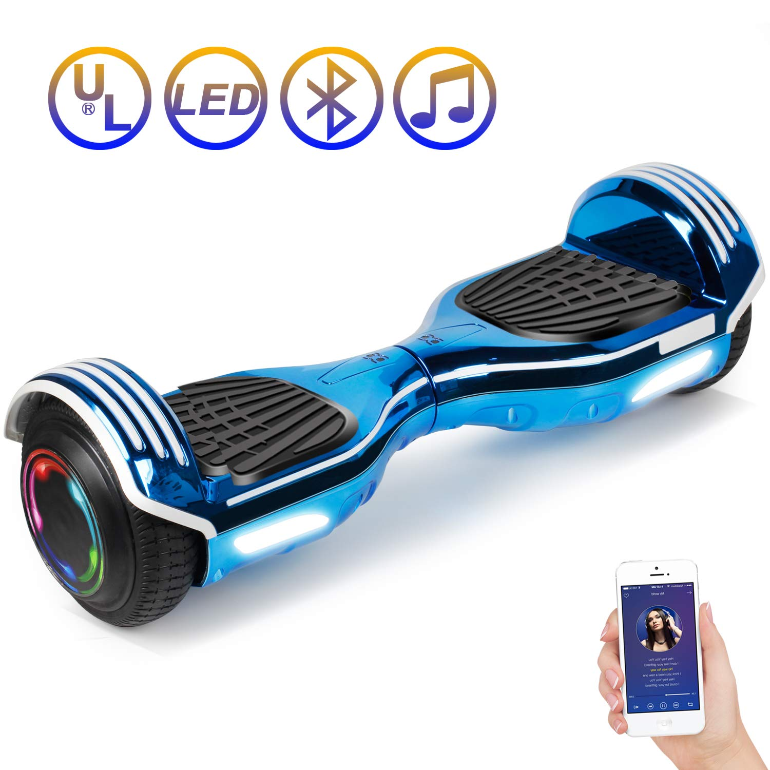 SISIGAD Hoverboard Self Balancing Scooter 6.5'' Two-Wheel Self Balancing Hoverboard with Bluetooth Speaker Electric Scooter for Adult Kids Gift UL 2272 Certified 138A Series - Plating Blue by SISIGAD