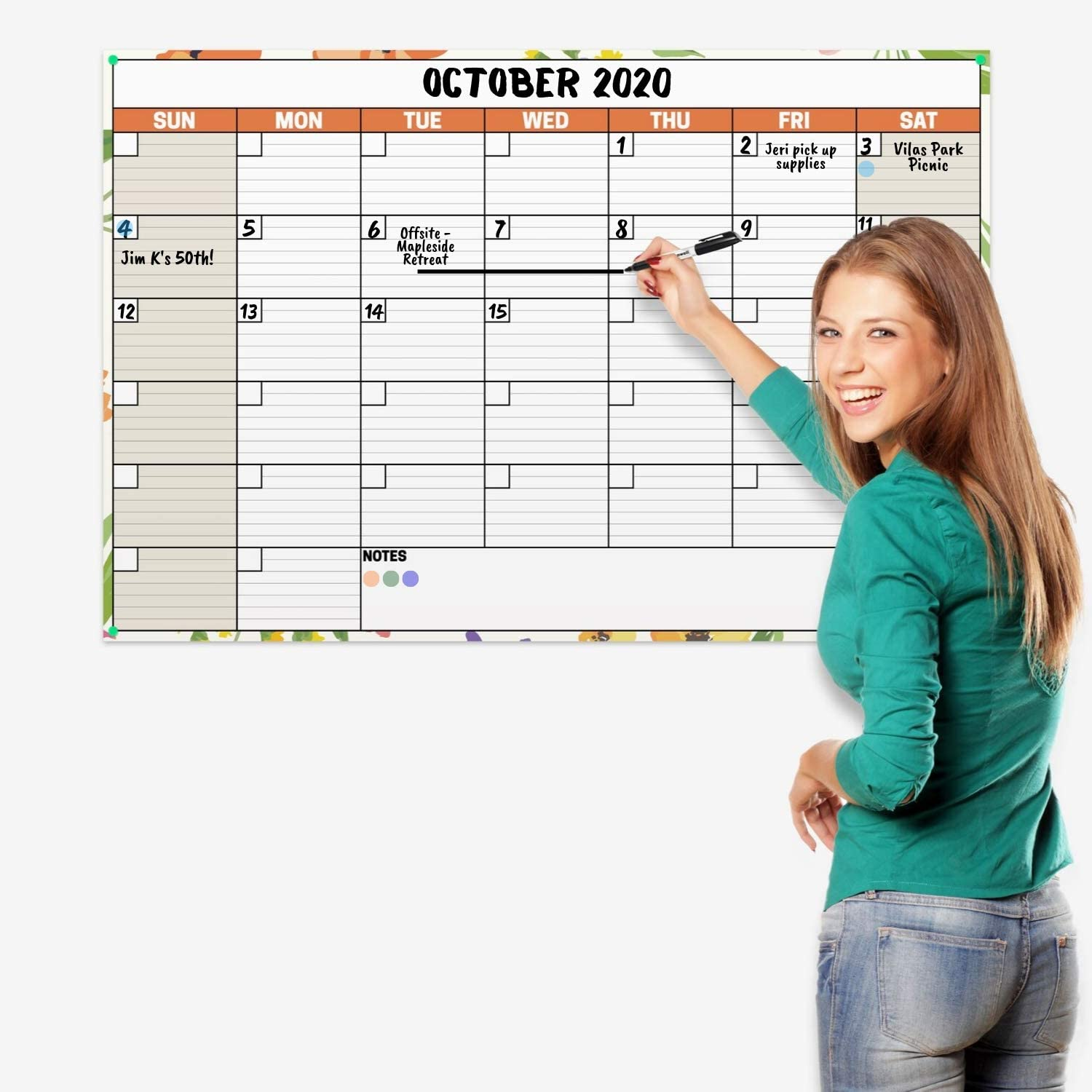 24x36 Erasable Undated Monthly Weekly Planner (Floral) with Bonus 2020 Horizontal Vertical Reversible Large Calendar, Laminated Dry Wet Erase Poster Calendars by Dunwell