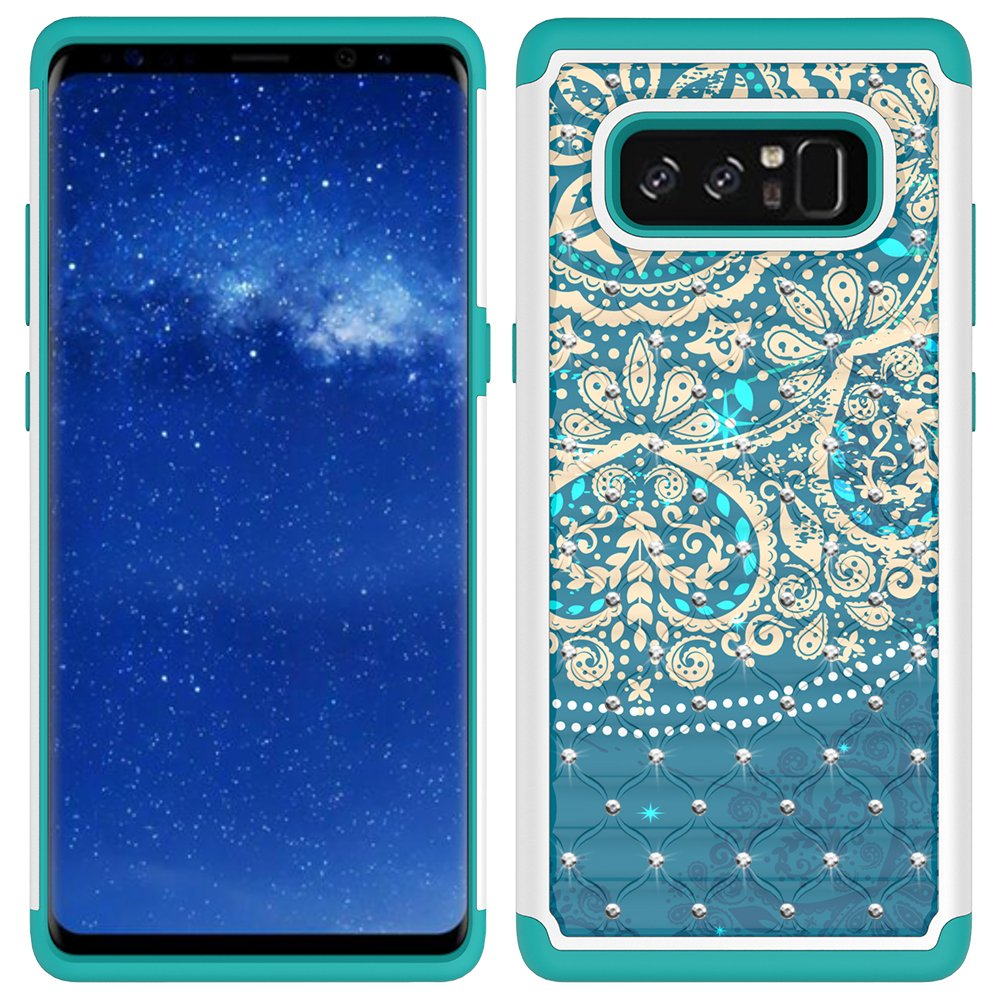 Note 8 Case, Galaxy Note 8 Case, MagicSky [Shock Absorption] Studded Rhinestone Bling Hybrid Dual Layer Armor Defender Protective Case Cover for Samsung Galaxy Note 8 (Flower1)