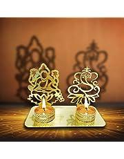 Portavelas diya de Lakshmi y Ganesha (Shubh Labh) que proyectan sombras, para Diwali Diyas (portavelas) tradicionales decorativos para el Deepawali en forma de Laxmi y Ganesh, para casa/oficina...Portavelas religiosos para velas flotantes. Regalo de decoración para Diwali