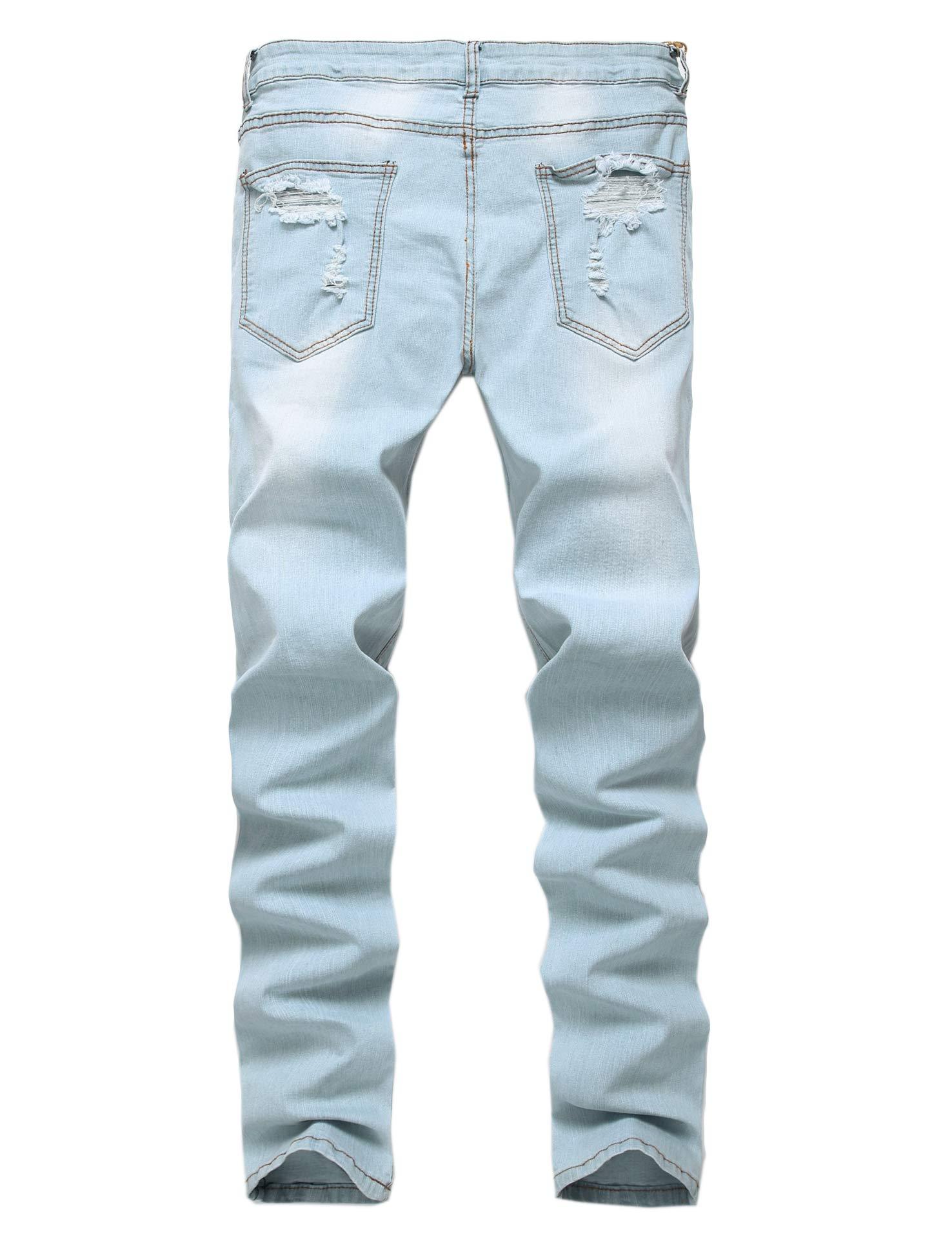 Enrica Men's Ripped Skinny Destroyed Holes Jeans Slim Fit ...