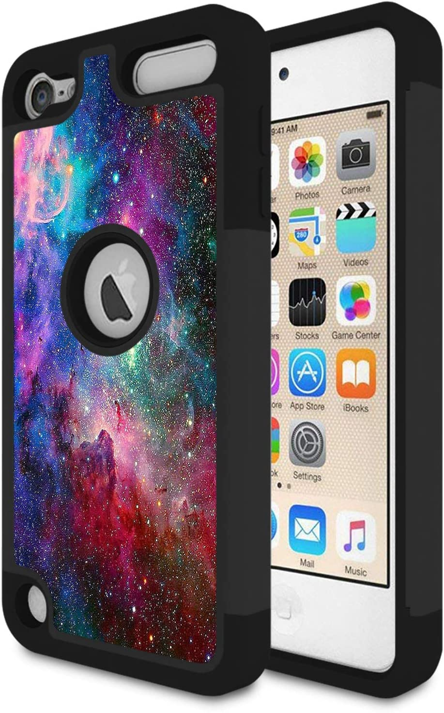 Rossy iPod Touch 6 Case,iPod Touch 5 Case, Blue Nebula Galaxy Space Universe Pattern Shock-Absorption Hybrid Dual Layer Full Body Protective Case Cove for Apple iPod Touch 5 6th Generation