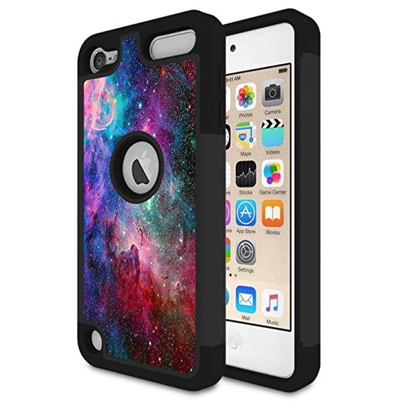 on sale ead03 4c45a iPod Touch 6 Case,iPod Touch 5 Case,Rossy Blue Nebula Galaxy Space Universe  Pattern Shock-Absorption Hybrid Dual Layer Armor Defender Protective Case  ...