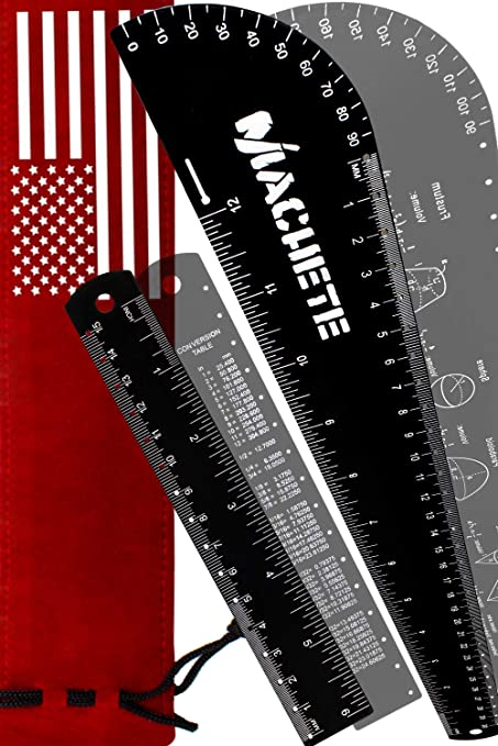 CAOLATOR tainless Steel Ruler Metal Ruler Metal Rule Precision Rule Kit 15 12 and 6 3pcs