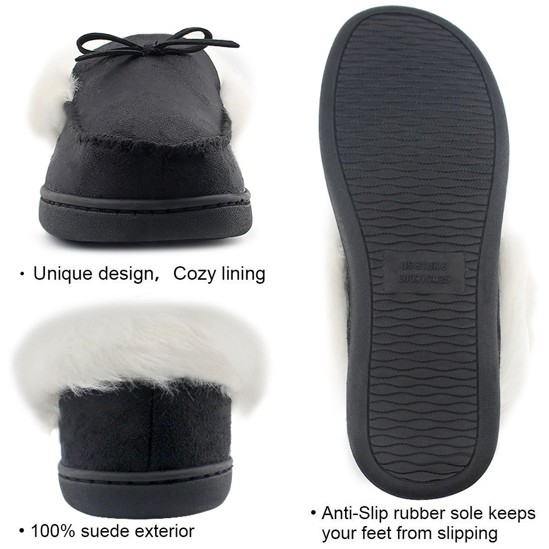 HomeIdeas Women's Faux Fur Lined Suede House Slippers, Breathable Indoor Outdoor Moccasins (7 B(M) US, Black) by HomeIdeas (Image #4)