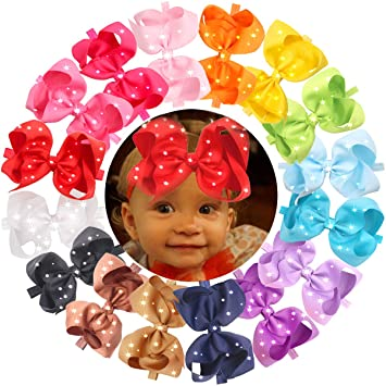 Amazon.com   Sparkle Rhinestones 6 Inch Big Hair Bows Headbands For Baby  Girls Newborn Infant and Toddlers Head Wear Accessory Pack of 16   Beauty 1bd3d9bf3579