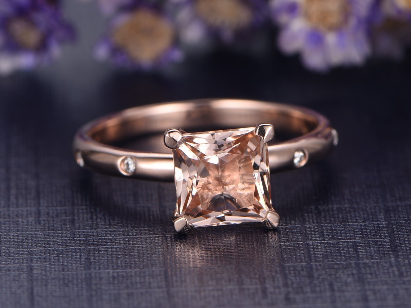 7mm Princess Cut Pink Morganite Engagement Ring 14k Rose Gold Charles & Colvard Moissanite Wedding Band,Gift for Her,Simple Style