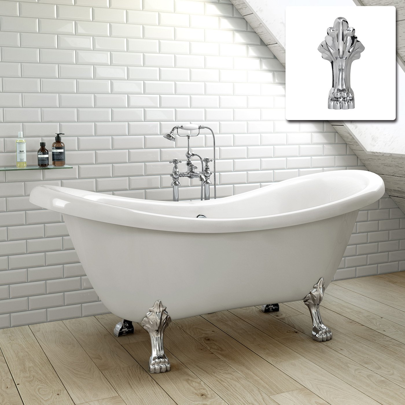 iBahtUK | Traditional Roll Top Double Slipper Bath Freestanding ...
