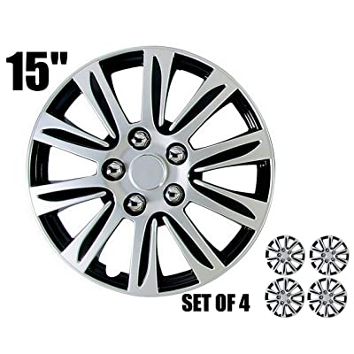 "15"" Set of 4 Hub Caps Marina Bay Silver-Black Color, Beautiful Design, Easy Installation, Universal fit.: Automotive"