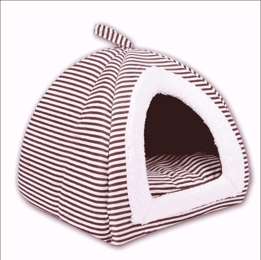 BROWN SHR Teddy Kennel Medium Small Dog House Cat Litter Yurt Winter Winter Warm Pet Supplies (color   BROWN, Size   S)