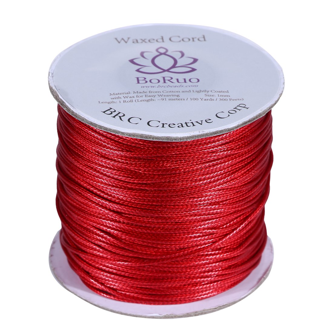 Boruo Brand 1mm Waxed Cotton Cord Beading Cord Waxed String Wax Cording Cord for Jewelry Making and Macrame Supplies 100 Yards Roll Spool Aquamarine Color Acrylic Jar BRC Creative Corp.