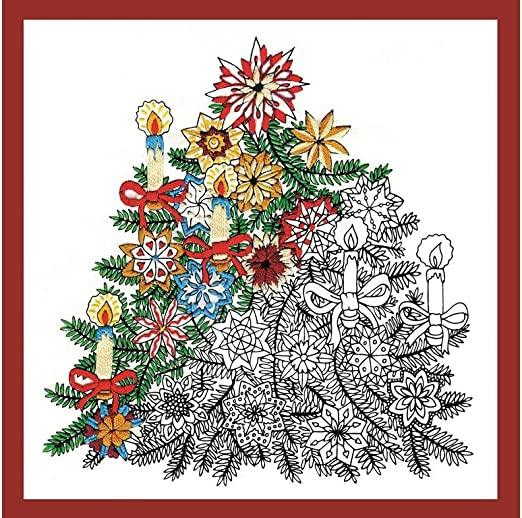 Design Works Crafts árbol de Navidad zenbroidery Tela Impresa Pack ...