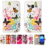 32nd® Designer book wallet PU leather case cover for Samsung Galaxy Ace 3 S7270 + screen protector and cloth - Colour Butterfly