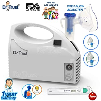 Dr Trust Piston Compressor Handy Nebulizer With Flow Adjuster White