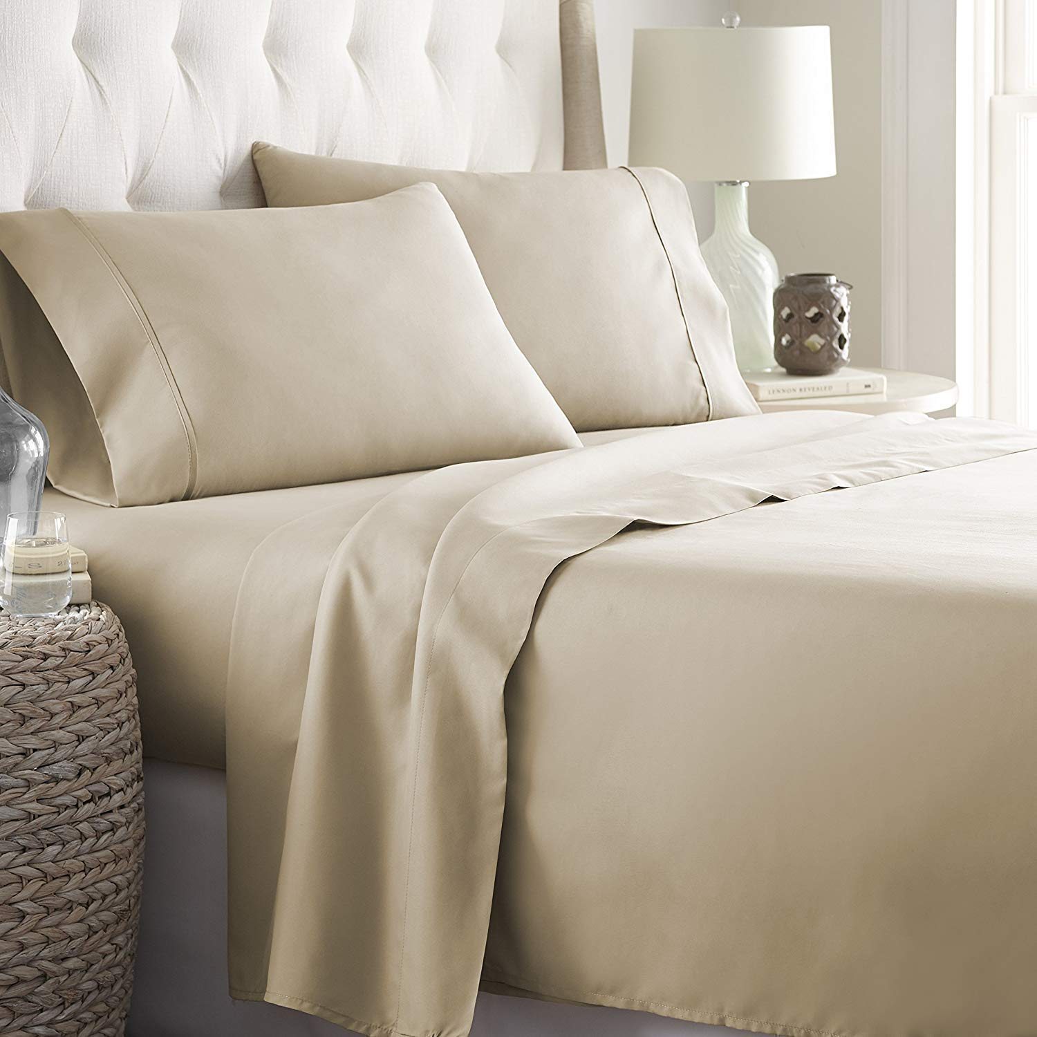"""4 Pc Twin xl Satin Brown 14/"""" deep Pocket Fitted Sheet Set 2 Pc Pillow Covers"""