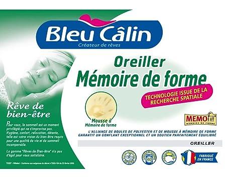 oreiller bleu calin Oreiller à mémoire de forme Memofill Bleu Câlin: Amazon.fr  oreiller bleu calin