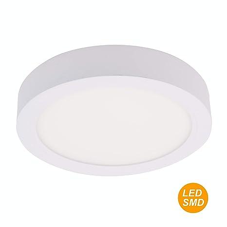 SECEIEL ® Plafonnier LED carré plat lumière froide rond IP54 Ovalado  SMD2835 8W 550Lm 6500K Eclairage Intérieur Rond Chambre Cuisine Salon  [Classe ...