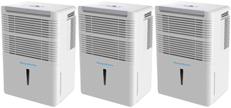 White Keystone KSTAD50B Energy Star 50-Pint Portable Dehumidifier for 3000 Sq with 6.4-Pint Bucket Capacity and Full Bucket Alert Ft