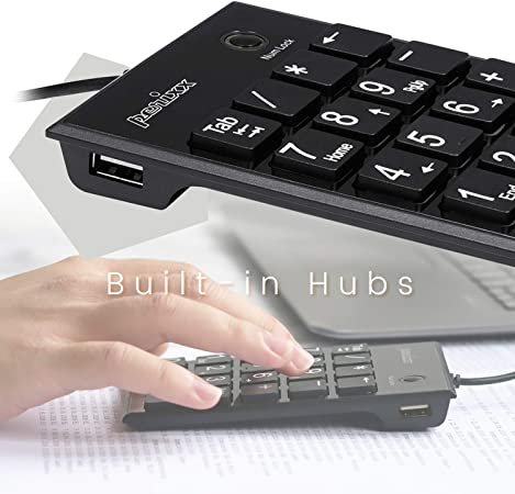 Perixx Peripad-202 Teclado numérico USB con 2 USB Hub y con tecla Tab. Tamaño Completo de 19 Teclas. Impresión Grande. Negro