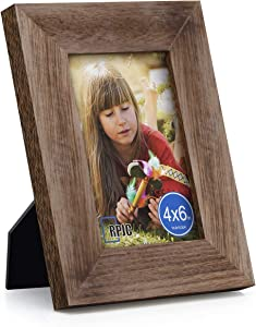 RPJC Solid Wood 4x6 inch Wide-Frame Picture Frame High Definition Glass for Table Top Display and Wall Mounting Photo Frame Carbonized