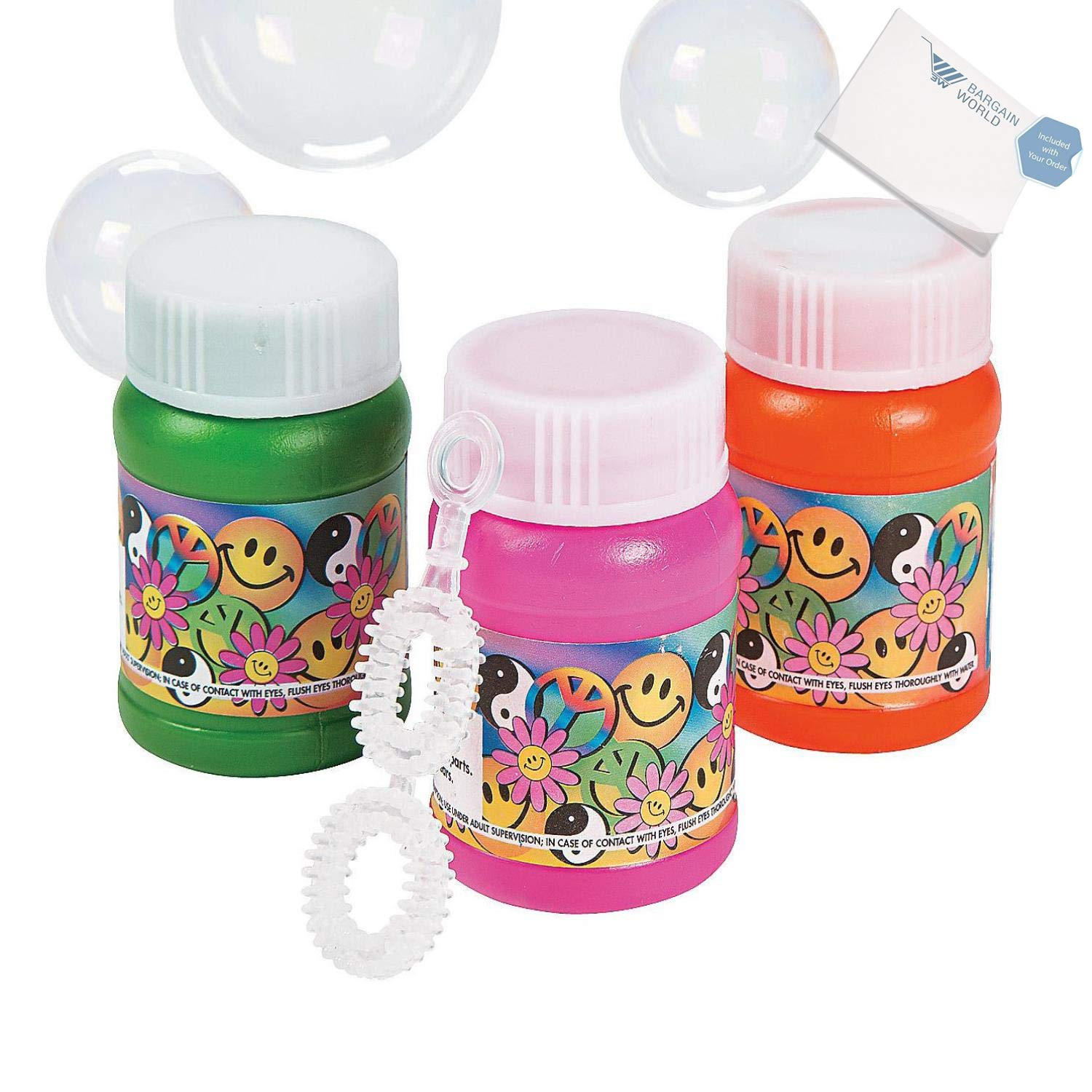 Bargain World Plastic Mini '60s Bubble Bottles (With Sticky Notes)