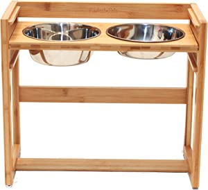 """Pawfect Pets Adjustable Pet Dog Feeder, 12"""", 14"""" or 16"""" Tall Raised Dog Bowl Stand, Comes with Four Stainless Steel Dog Bowls"""